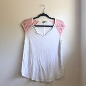 White Tank-Top with pink shoulders